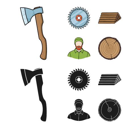 Carpenter and tools vector illustration set