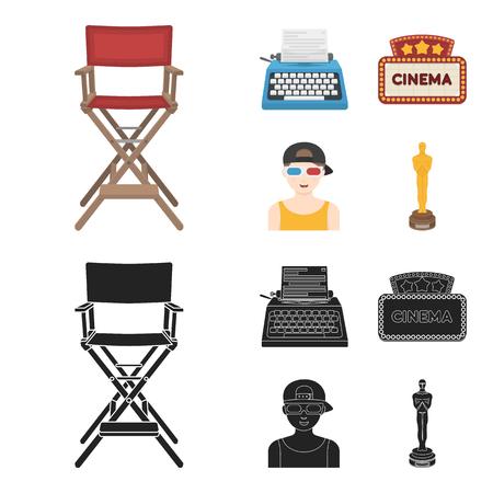 Voorzitter van de regisseur, typemachine, cinematografisch uithangbord, filmman. Films en bioscoop instellen collectie iconen in zwart, plat, zwart-wit stijl vector symbool stock illustratie web.