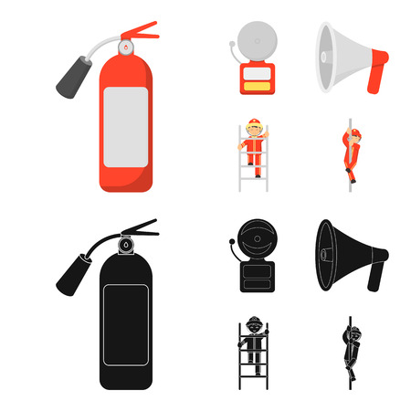 Fire extinguisher, alarm, megaphone, fireman on the stairs. Fire departmentset set collection icons in cartoon,black style vector symbol stock illustration .