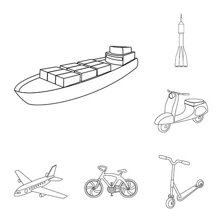Different types of transport outline icons in set collection for design. Car and ship vector symbol stock  illustration. Фото со стока - 100221695