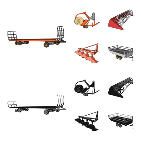Plow, combine thresher, trailer and other agricultural devices. Agricultural machinery set collection icons in cartoon,black style vector symbol stock illustration .