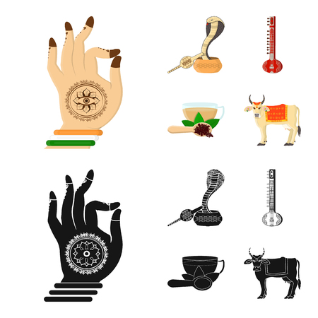 Country India cartoon,black icons in set collection for design.India and landmark vector symbol stock web illustration. Illustration