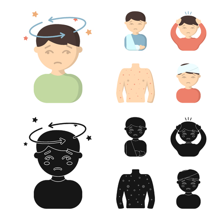 A boy with a headache, with stars, a man with a broken hand in a cast, a sick man grabbed his head with his hands, a man torso with ulcers and a rash. Sick set collection icons in cartoon,black style vector symbol stock illustration web.