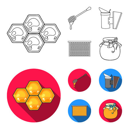 Apiary set collection icons Stock Illustratie