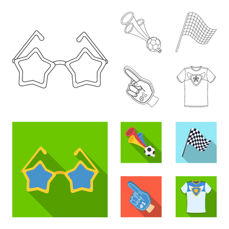Pipe, uniform and other attributes of the fans.Fans set collection icons in outline,flat style vector symbol stock illustration .