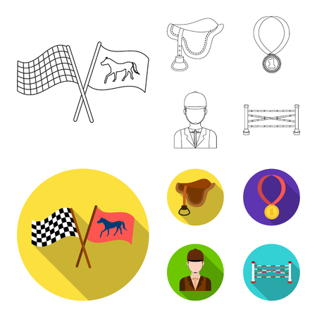 Saddle, medal, champion, winner .Hippodrome and horse set collection icons in outline,flat style vector symbol stock illustration .
