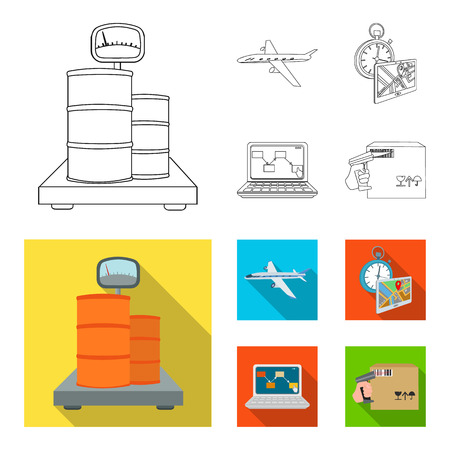 Transport aircraft, delivery on time, computer accounting, control and accounting of goods. Logistics and delivery set collection icons in outline,flat style isometric vector symbol stock illustration web. Illustration