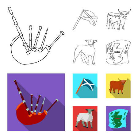 The state flag of Andreev, Scotland, the bull, the sheep, the map of Scotland. Scotland set collection icons in outline,flat style vector symbol stock illustration web. Çizim