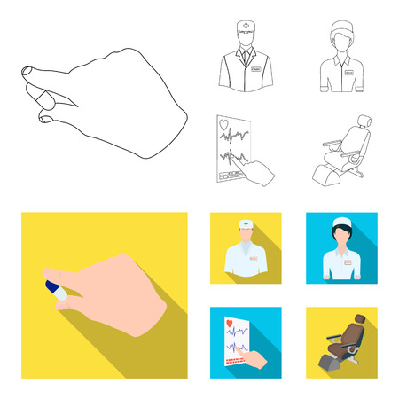 The attending physician, the nurse, the cardiogram of the heart, the dental chair. Medicineset collection icons in outline,flat style vector symbol stock illustration web. Illustration