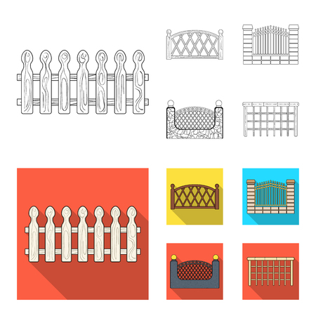 A fence of metal and bricks,wooden palisade. A different fence set collection icons in outline,flat style vector symbol stock illustration web. Illustration