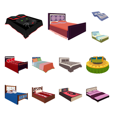 Different beds cartoon icons in set collection for design. Furniture for sleeping vector isometric symbol stock web illustration. Illustration