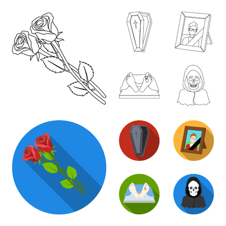 Coffin with a lid and a cross, a photograph of the deceased with a mourning ribbon, a corpse on the table with a tag in the morgue, death in a hood. Funeral ceremony set collection icons in outline,flat style vector symbol stock illustration web. Stock Illustratie