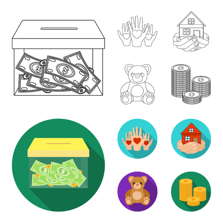 Boxing glass with donations, hands with hearts, house in hands, teddy bear for charity. Charity and donation set collection icons in outline,flat style vector symbol stock illustration