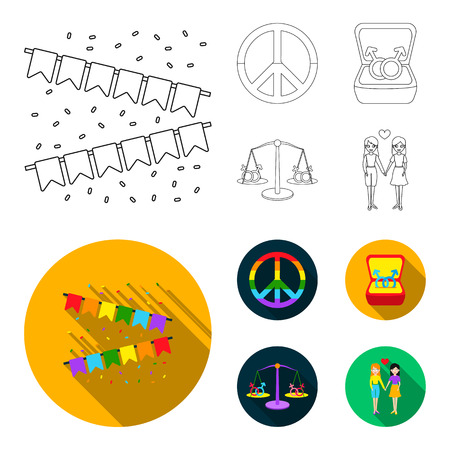 Flags, rainbow, emblem, rings. Gay set collection icons in outline,flat style vector symbol stock illustration web. Imagens - 100264976