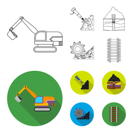 Excavator, tunnel, elevator, coal harvester and other equipment.Mine set collection icons in outline,flat style vector symbol stock illustration