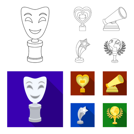 White Mask Mime for the best drama, a prize in the form of the heart and other prizes.Movie awards set collection icons in outline,flat style vector symbol stock illustration web.