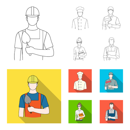 Cook, painter, teacher, locksmith mechanic.Profession set collection icons in outline,flat style vector symbol stock illustration