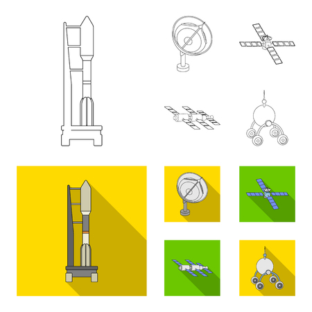 Radio radar, docking in space spacecraft. Space technology set collection icons in outline,flat style vector symbol stock illustration Illustration