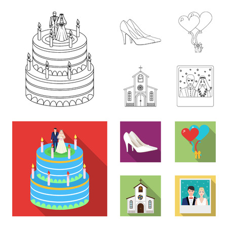 Wedding and Attributes cartoon ,flat,outline,black icons in set collection for design.Newlyweds and Accessories vector symbol stock web illustration.