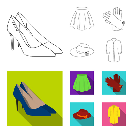 Skirt with folds, leather gloves, women hat with a bow, shirt on the fastener. Women clothing set collection icons in outline,flat style vector symbol stock illustration web.
