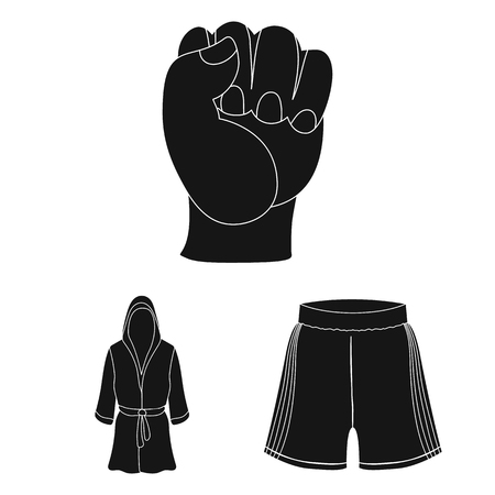 Boxing extreme sports black icons in set collection for design. Boxer and attributes vector symbol stock web illustration. Banque d'images - 100407520