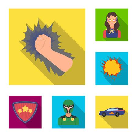 A fantastic superhero flat icons in set collection for design. Superhero equipment vector symbol stock web illustration. Stock Vector - 100407521