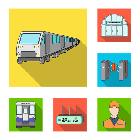 Metro, subway flat icons in set collection for design.Urban transport vector symbol stock web illustration. Illustration