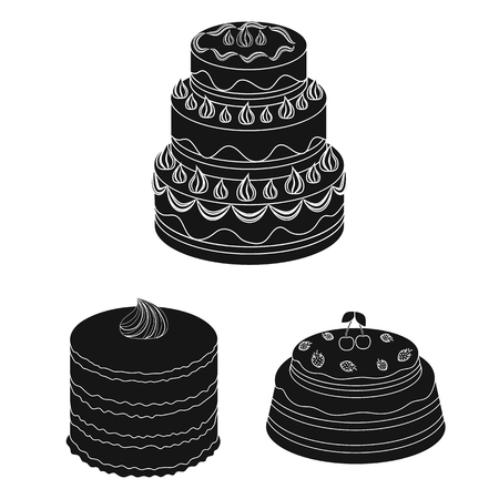Cake and dessert black icons in set collection for design. Holiday cake vector symbol stock  illustration. Vettoriali