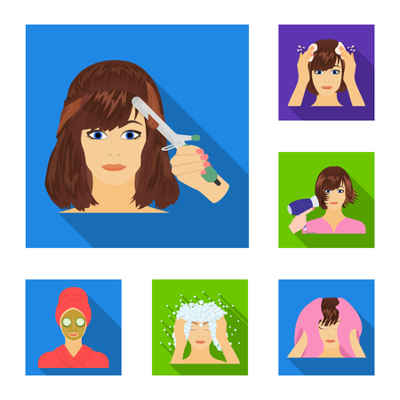 Care of hair and face flat icons in set collection for design. Perfumes and makeup vector symbol stock  illustration.