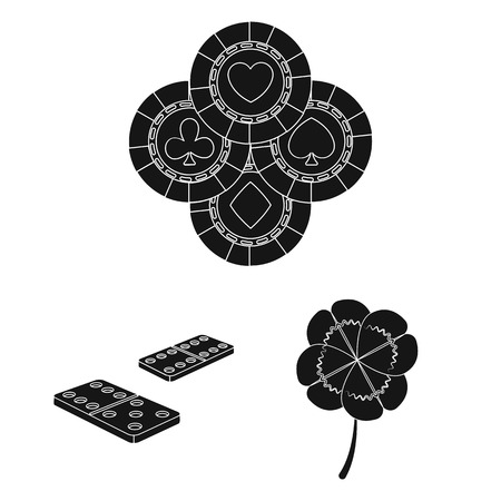 Casino and equipment black icons in set collection for design. Gambling and money vector symbol stock  illustration.