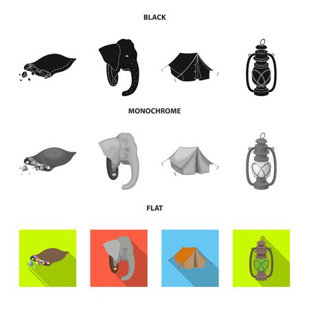 A bag of diamonds, an elephant head, a kerosene lamp, a tent. African safari set collection icons in black, flat, monochrome style vector symbol stock illustration . Illustration