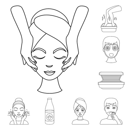 Skin care outline icons in set collection for design. Face and body vector symbol stock  illustration.