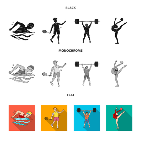 Swimming, badminton, weightlifting and gymnastics set collection icons in black, flat and monochrome style