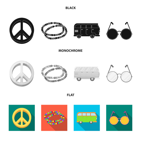 A hippie sign, beads, a bus, round glasses. Hippy set collection icons in black, flat, monochrome style vector symbol stock illustration.