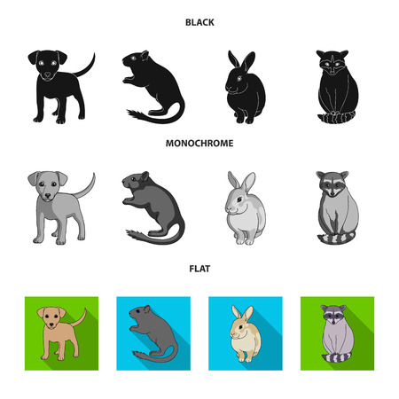 Puppy, rodent, rabbit and other animal species.Animals set collection icons in black, flat, monochrome style vector symbol stock illustration. Illustration
