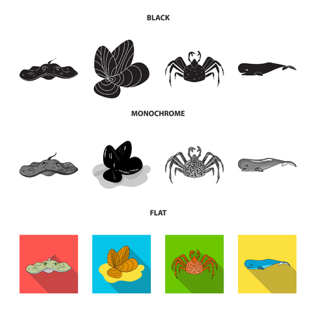 Sea animals set collection icons 向量圖像