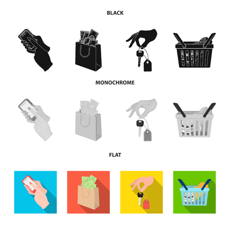 Shopping icons in set collection