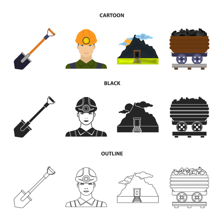 A shovel, a miner, an entrance to a mine, a trolley with coal set collection icons in cartoon, black and outline style  イラスト・ベクター素材