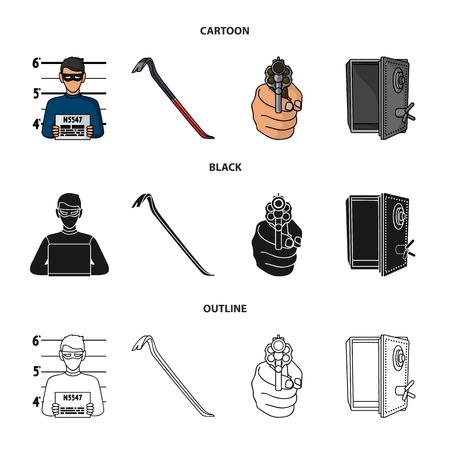 Photo of criminal, scrap, open safe, directional gun.Crime set collection icons in cartoon,black,outline style vector symbol stock illustration web.