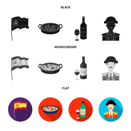 Spain flag, food, a bottle of wine with glass and a matador icons in black, flat and monochrome style