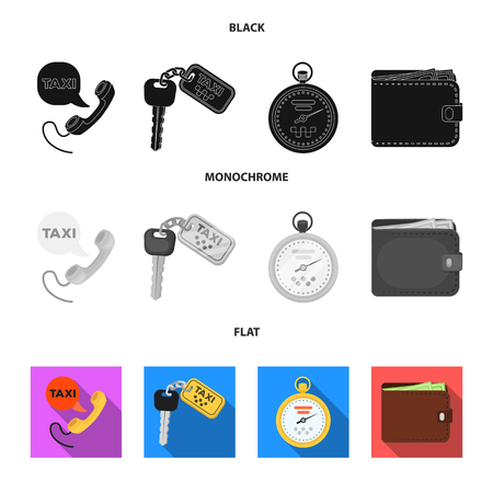 Handset, keys, a stopwatch and a purse set collection icons in black, flat and monochrome style Иллюстрация