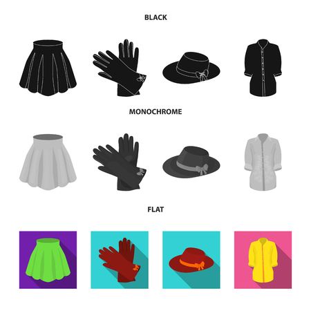 Skirt with folds, leather gloves, women hat with a bow, shirt on the fastener. Women clothing set collection icons in black, flat, monochrome style vector symbol stock illustration web.