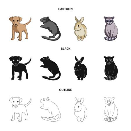 Chiot, rongeur, lapin et autres espèces animales. Animaux, ensemble, collection, icônes, dans, dessin animé, noir, contour, style, vecteur, symbole, stockage, illustration