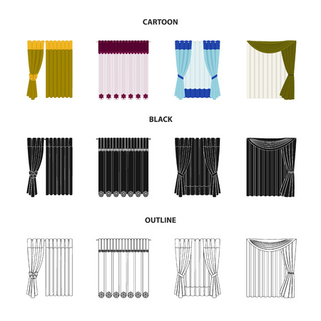 Curtain icons in cartoon, black and outline style.