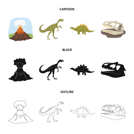 Volcanic eruption,dinosaurs and a skull set collection icons in cartoon, black and outline style 向量圖像
