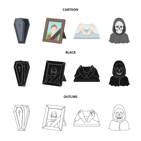 Coffin with a lid and a cross, a photograph of the deceased with a mourning ribbon, a corpse on the table with a tag in the morgue, death in a hood. Funeral ceremony set collection icons in cartoon,black,outline style vector symbol stock illustration web.