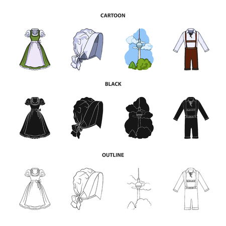Country Germany cartoon,black,outline icons in set collection for design. Germany and landmark vector symbol stock web illustration.
