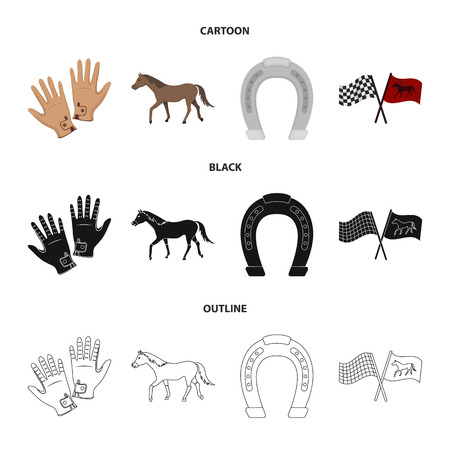 Race, track, horse, animal .Hippodrome and horse set collection icons in cartoon,black,outline style vector symbol stock illustration 向量圖像