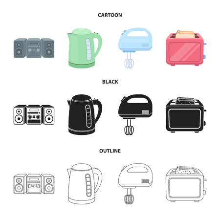 Electric kettle, speakers, mixer and toaster icons in cartoon, black and outline style Illustration