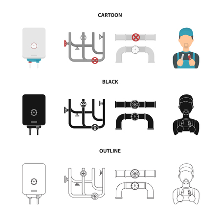 Boiler, plumber, ventils and pipes.Plumbing set collection icons in cartoon,black,outline style vector symbol stock illustration web.